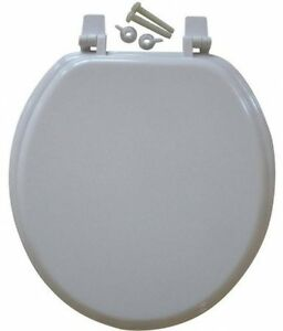 Mainstays 17 Quot Molded Wooden Toilet Seat White Round Wood