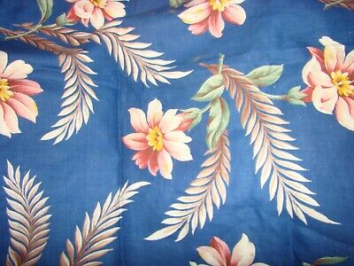 Large Floral Bouquet Cotton Fabric ~ Apricot Blue ~ 1940/'s Antique Vtg