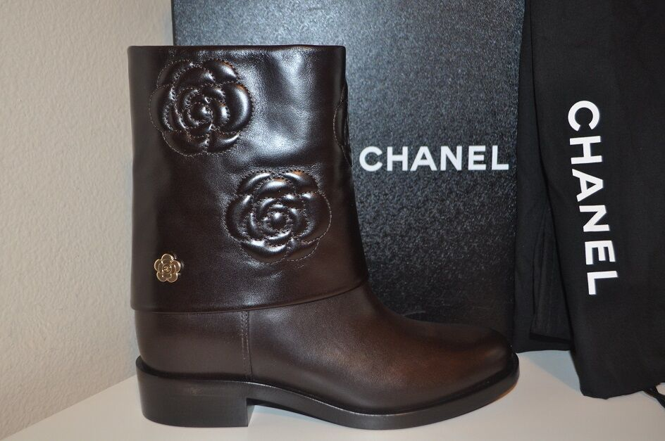 NIB CHANEL Dark Brown Leather CAMELLIA CC Moto Biker Ankle Boots Flower 37 - 7