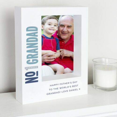 Grandad Personalised No.1 5x7 Box Photo Frame Dad Fathers Day Step-Dad Daddy