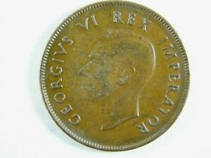 Moneda-South-Africa-1-Penny-1D-1938-British-Dominiom-George-VI-World-Coins
