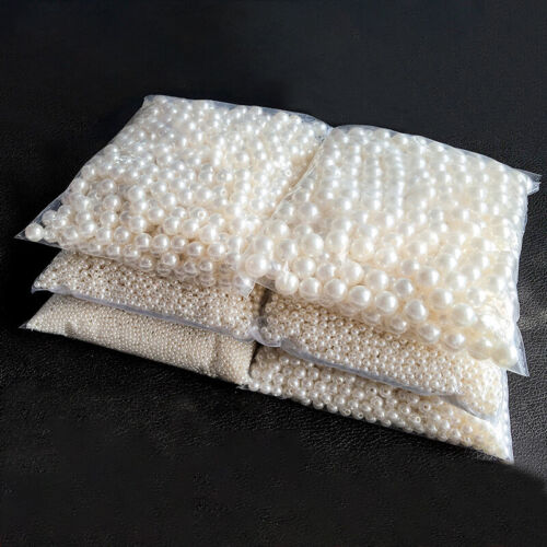 10-400pcs Straight Holes Acrylic Imitation Pearl Round Beads DIY Jewelry Making