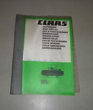 Teilekatalog / Spare Parts List Claas Frontmähwerk WM31F   09/1986