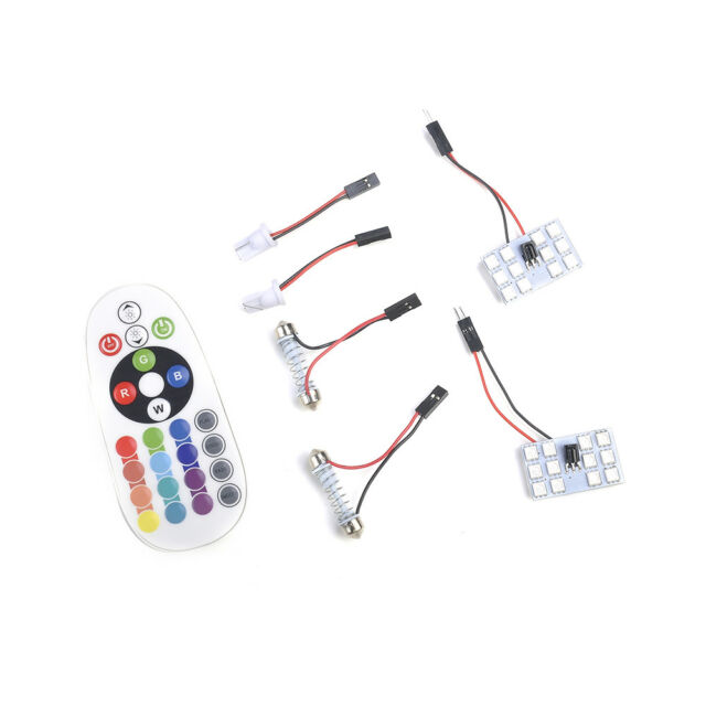 2x T10 5050 12SMD RGB LED Car Dome Roof Reading Light Lamp Bulb + Remote Control