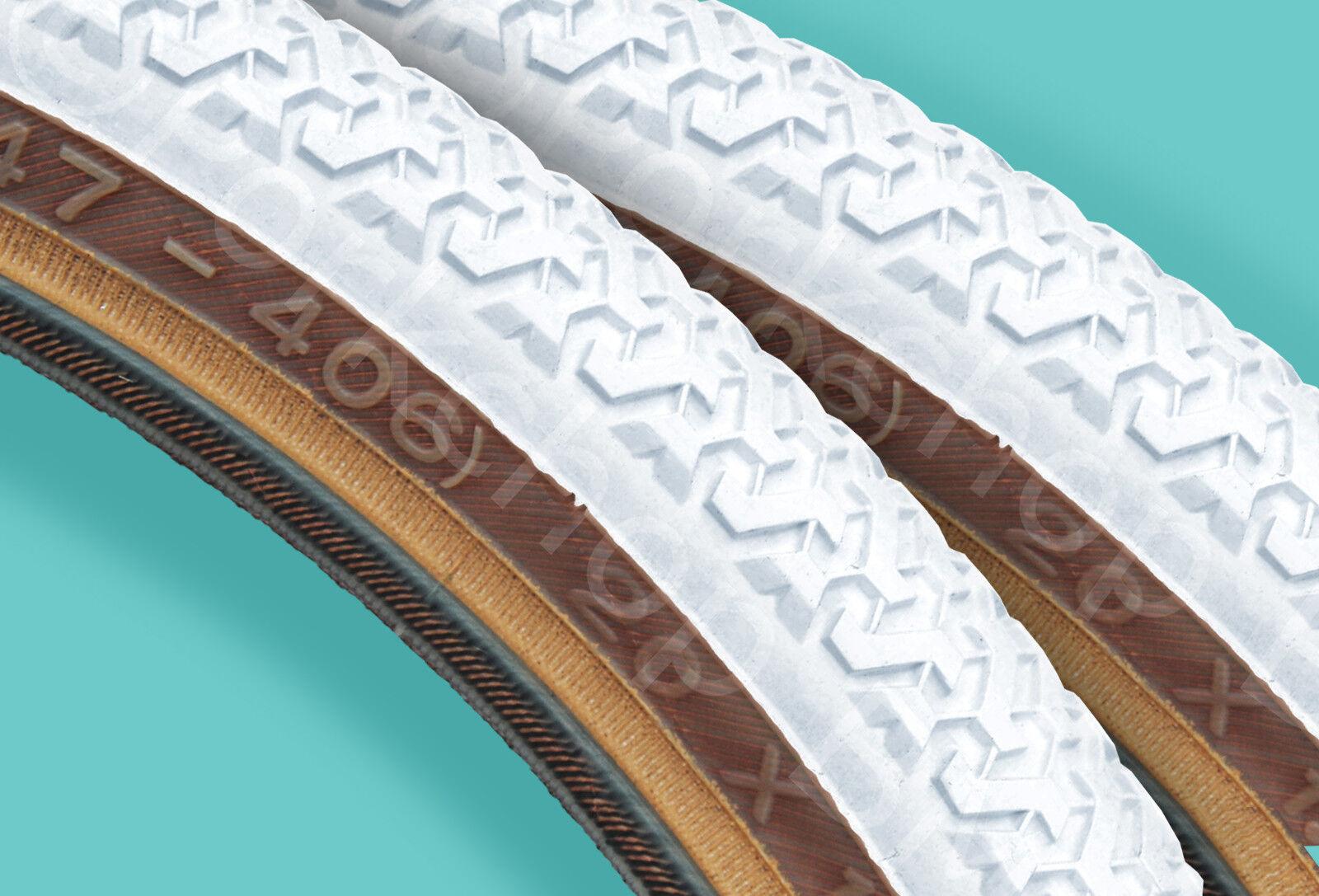 Kenda K55 freestyle old school BMX skinwall gumwall tires PAIR 20  X 1.75  WHITE