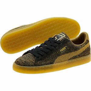 Gold Puma Basket Knit Metallic Sneakers Mens
