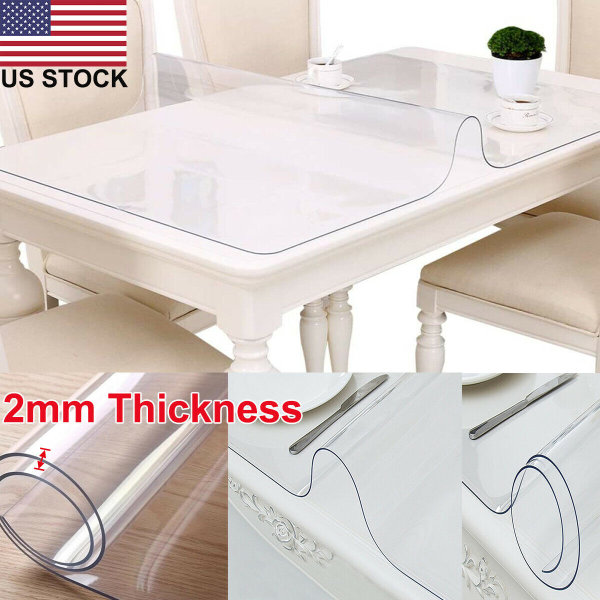 LovePads 2mm Thick 38 x 78 Inches Clear Dining Room Table Protector Kitchen Wood Grain Vinyl Tablecloth Cover Rectangular Non-Slip Plastic Table Protective Pads
