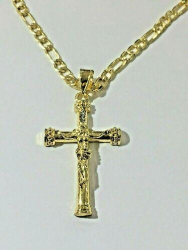 """Cadena 26/"""" De Oro Laminado Cn Alacran De Tres Colores Jesus Cross Pendant"""