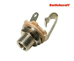 Switchcraft-Type-L11-1-4-034-Mono-Jack-Long-Bushing-Nickel-Gold