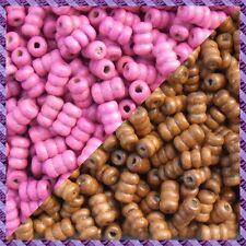 100 Perles Legno Tubo 2 coloris Marrone chiaro / Fucsia