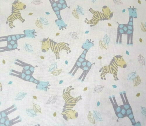 Special Delivery BTY Quilting Treasures Aqua Sage Gray Zebra Giraffe White