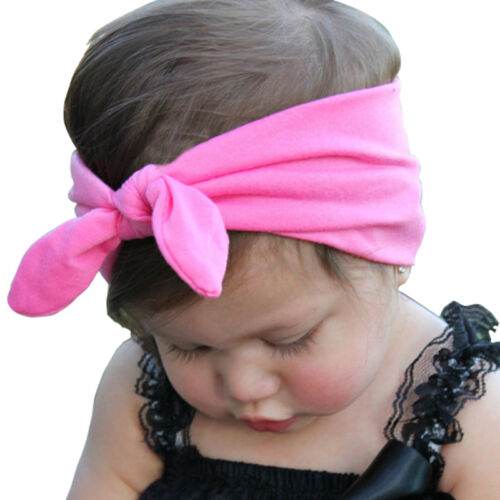 Fashion Baby Newborn Headbands Stretch Rabbit Bow Ear Turban Knot Hair Band GNFH