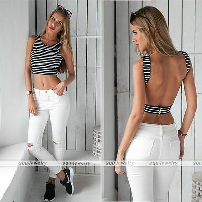 Summer Fashion Womens Backless Sleeveless Tank Tops Vest Crop Top Blouse T-Shirt