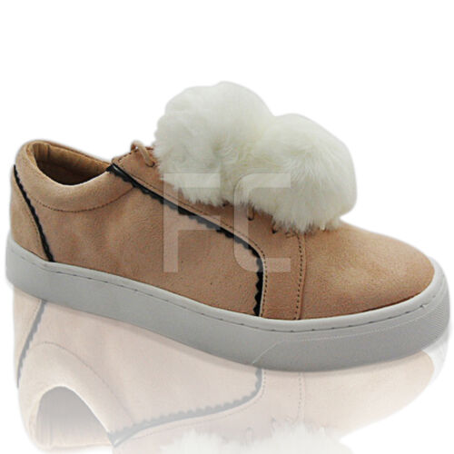 NEW WOMENS LADIES LACE UP POM POM TRAINERS SNEAKERS SHOES SKATERS PUMPS SIZE
