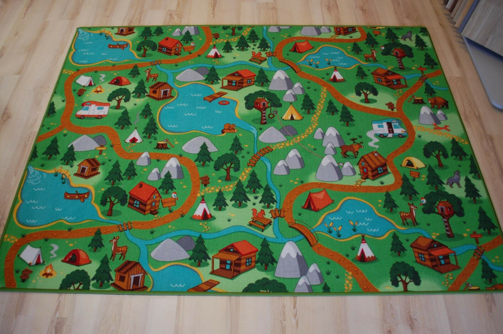 Enfants Tapis Tapis de jeu Camping velours vert 200x700 cm forêt