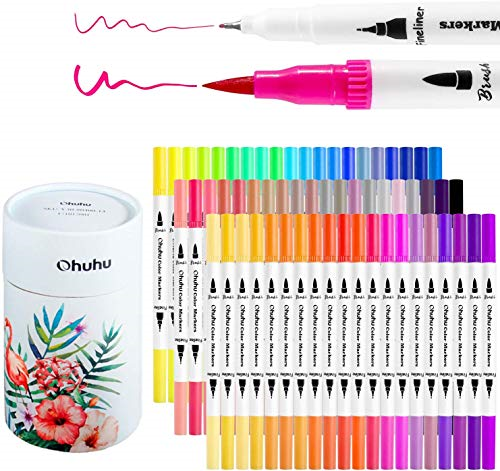 25 Dual Tip Color Fineliner Pens For Drawing Brush Tip and Colored Fine Tip pens