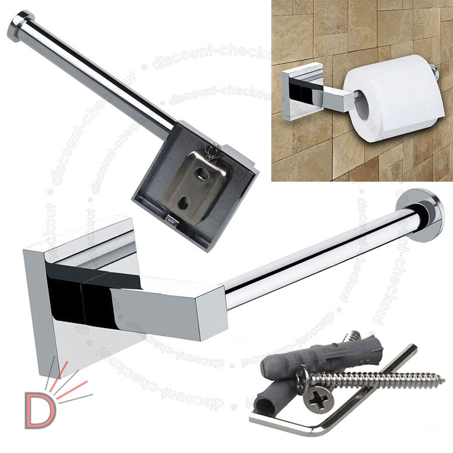 Bathroom Chrome Square Square Square Wall Mounted Toilet Roll Tissue Paper Holder UKDC f886ba