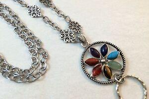 Chakra-Flower-Lanyard-Badge-ID-Holder-Silver-Chain-Breakaway-Option