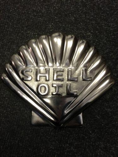 Vintage Silver Shell Logo Cast metal polished sign  Garage Sign shell motor