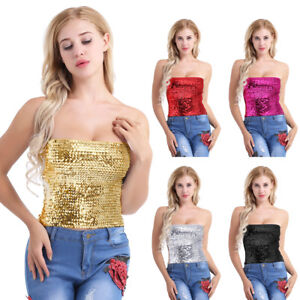 Mujeres-Chaleco-Lentejuelas-Brasier-Tubo-Crop-Camiseta-sin-mangas-Cami-Tops-Camiseta-Blusa-Prendas