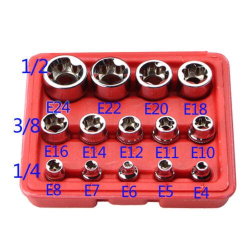 """14 Pcs E Torx Star Female Bit Socket Set 1//2/""""//3//8/""""//1//4/"""" Drive tool"""