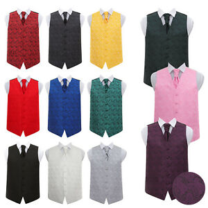 DQT-Woven-Floral-Paisley-Mens-Boys-Wedding-Waistcoat-Cravat-Set-24-034-50-034
