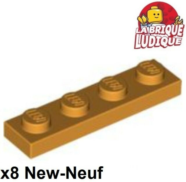 8x Plaque Plate 1x4 4x1 orange 3710 NEUF Lego