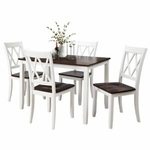 Details About 5pcs Wood Dinner Set Table With 4pcs High Back Chairs Kitchen Dinning Room White