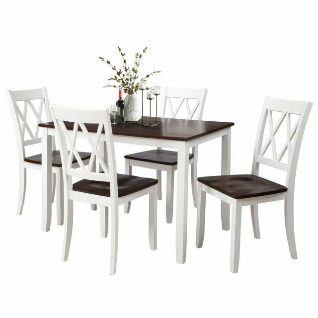 Amazing 5Pcs Wood Dinner Set Table With 4Pcs High Back Chairs Kitchen Dinning Room White Short Links Chair Design For Home Short Linksinfo