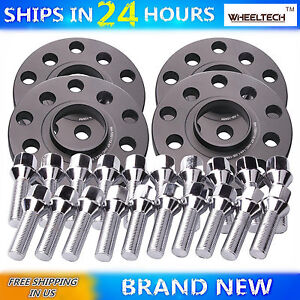 4 pcs 15mm 5x100 5x112 M14x1.5 Cone Bolts fit Audi A4 Hubcentric Wheel Spacers