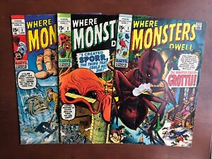 Where-Monsters-Dwell-1-2-3-1970-FN-Marvel-Key-Issue-Comic-1st-App-Bronze-Age