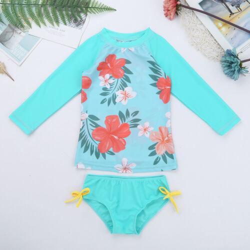 Toddler Baby Girls Rash Guard Bikini Sun Protective Swimwear Surfing Beachwear