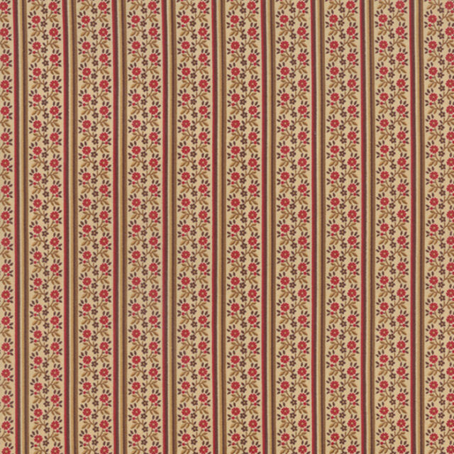 PETITE PRINTS~2 YDS~EOB~MODA~13691-12~FRENCH GENERAL~RED OYSTER FLORAL STRIPE