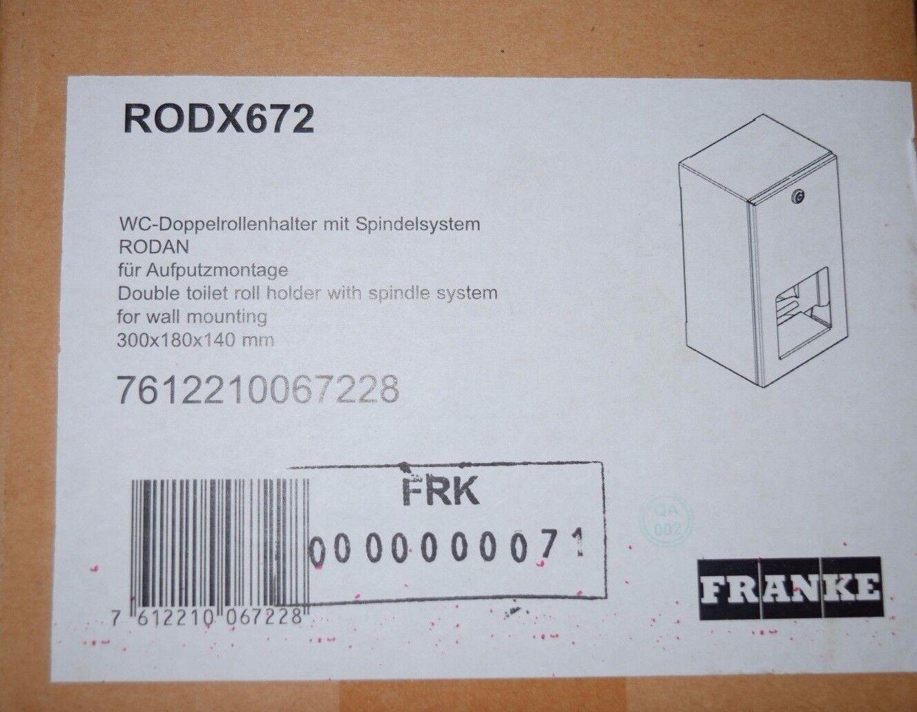 Franke RODX672 RODX672 RODX672 WC-Rollenhalter, RODAN, Edelst. f. 2 Rollen AP 144x30x138 mm (HR) | Qualität und Verbraucher an erster Stelle  fb780e