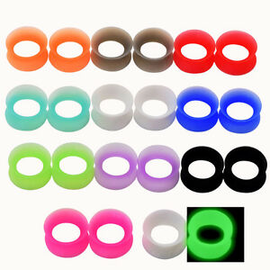 """Black STAR on Grey Silicone Flexible Earlets from 0g up to 1/"""" Price Per 1"""