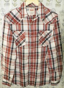 LEVI-039-S-Men-s-Size-Small-Modern-Fit-Red-Blue-White-Plaid-LS-Pearl-Snaps-Shirt-EUC