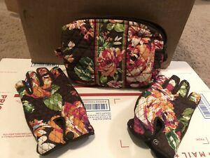 Vera-Bradley-Lined-Cosmetic-Bag-Gloves-English-Rose-Pattern-set-Retired