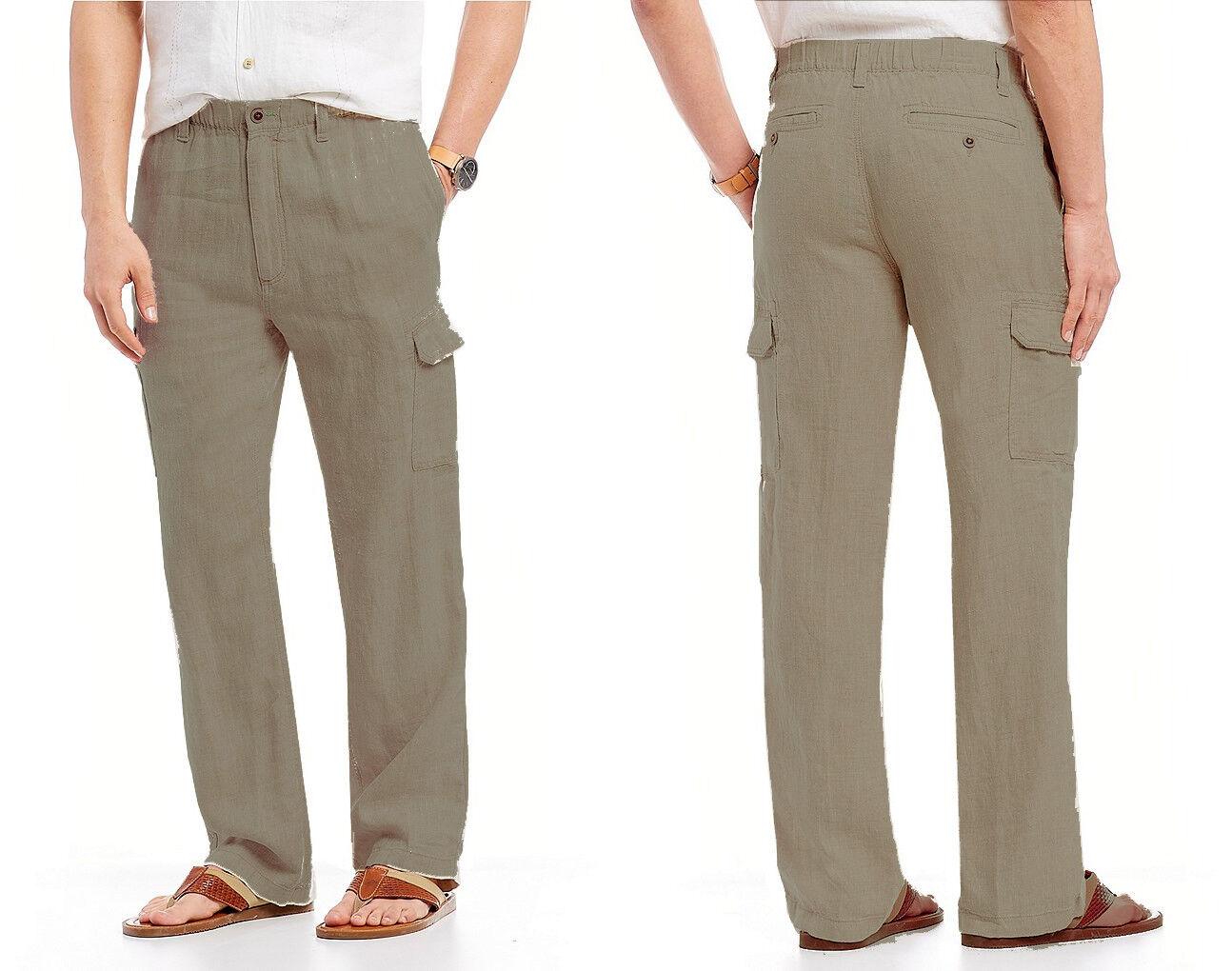 Caribbean Roundtree & Yorke Men's Linen Cargo Elastic Waist Pants in Brownstone