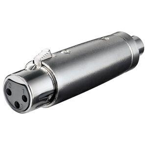 Audio-Mikrofon-Adapter-XLR-Kupplung-Buchse-3-polig-auf-RCA-Cinch-Chinch-weiblich