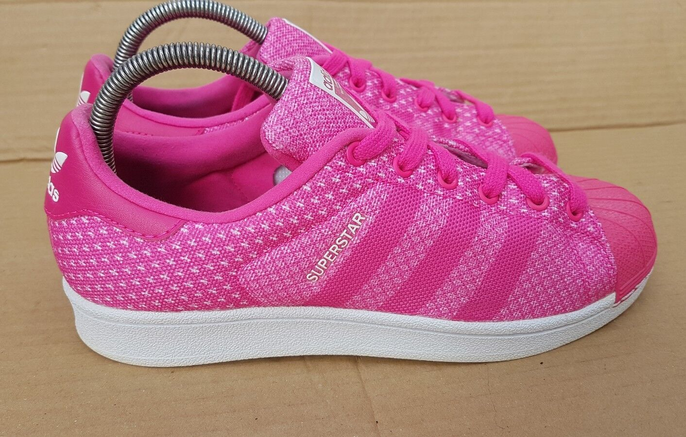 ADIDAS SUPERSTAR SHELL TOE TRAINERS PINK WEAVE IN SIZE 5.5 UK IMMACULATE