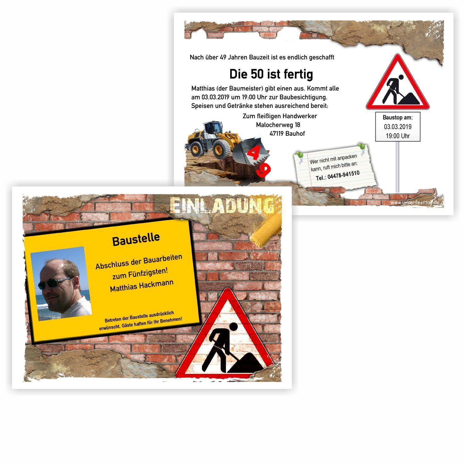 Einladungskarte für Maurer mit Foto - Baustelle Handwerker Geburtstag 30 40 50   | Deutschland München  | Primäre Qualität