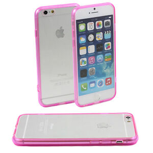 5-x-PINK-HARD-BACK-CASES-FITS-iPHONE-6-APPLE-4-7-CLEAR-TPU-SILICONE-BUMPER-M44