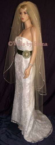 "Wedding Bridal Veil Floor Length 2 Tiers Full 52/"" 68/"" Length Satin Ribbon Edge"
