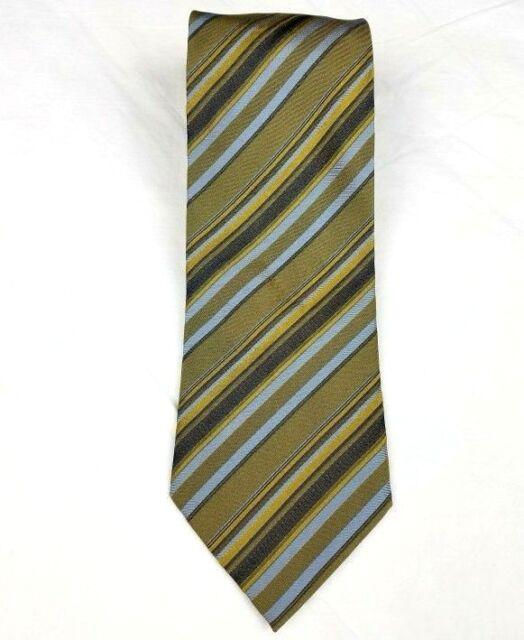 3ee00770af4e Valerio Garati Tie 100% Silk Handmade Necktie Gold Green Blue Stripe ...