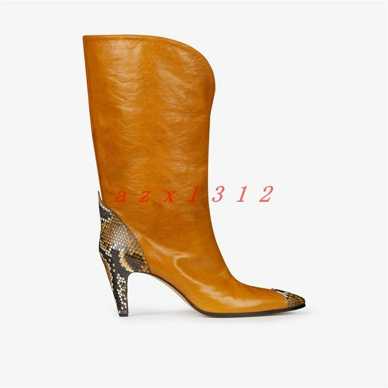 Women Pointy Toe High Block Heel Pull On Mid Culf Boot Shoe Real Leather Party