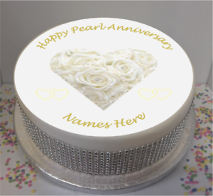 Details About Personalised 30th Pearl Wedding Anniversary 7 5 Edible Icing Cake Topper