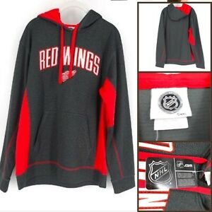 NHL-Men-039-s-Detroit-Red-Wings-Embroidered-Pullover-Sweatshirt-Black-Medium-NEW