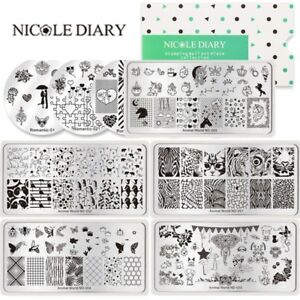 NICOLE-DIARY-Nail-Art-Stamping-Plates-Heart-Butterfly-Animals-Stamp-Templates