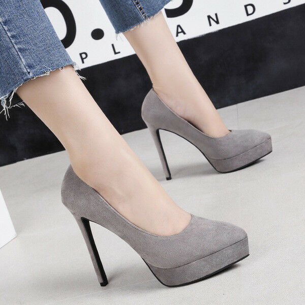 decolte eleganti donna donna eleganti stiletto 12 cm grigio comodi simil pelle 1457 fe300f