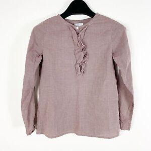 Jacadi-Girls-Ruffle-Collar-Blouse-Top-Burgundy-Red-White-Size-10y